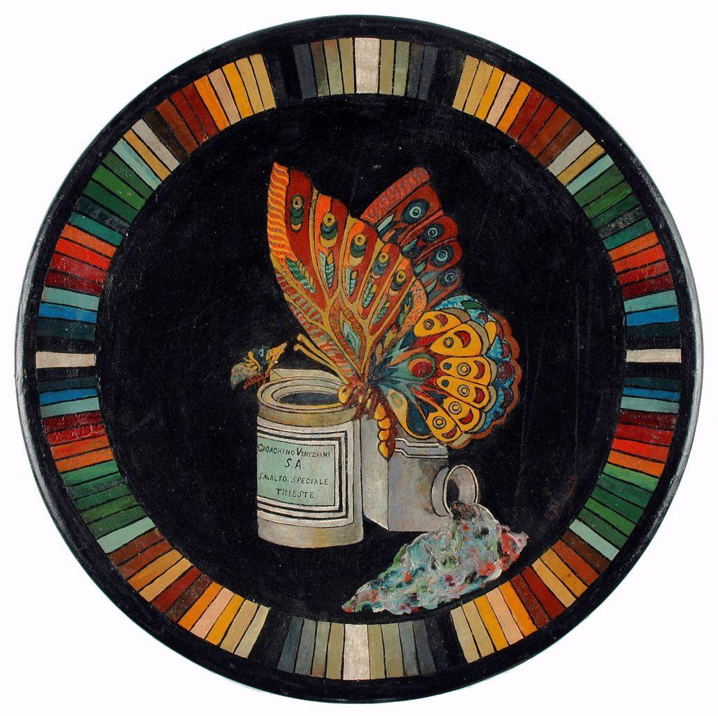 """Piatto pubblicitario """"Gioachino Veneziani S.A. - Smalto speciale - Trieste"""" terracotta verniciata, 1925-1930 ca. Museo Sveviano, [Trieste]"""